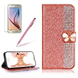 Girlyard For Samsung Galaxy S6 Wallet Case,Bling 3D Premium Luxury Diamond PU Leather Magnetic Closure Cover+Soft TPU Inner Bumper Anti-Scratch Full-Body Protective Case for Samsung Galaxy S6-Rose Gold
