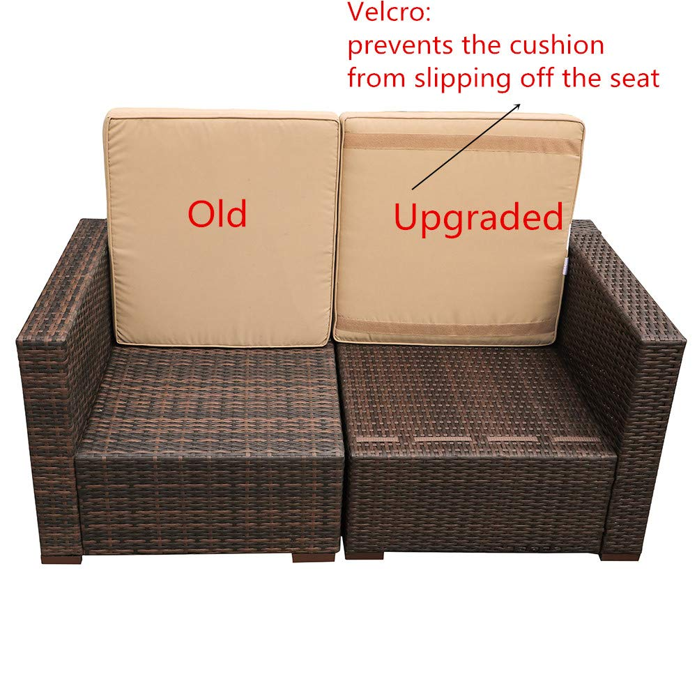 Patiorama Outdoor Furniture Sectional Sofa Set (5-Piece Set) All-Weather Brown PE Wicker with Beige Seat Cushions &Glass Coffee Table| Patio, Backyard, Pool| Steel Frame by Patiorama (Image #2)