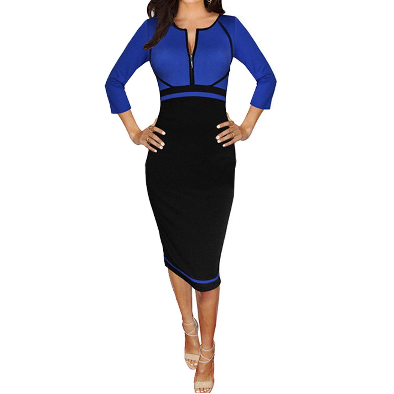 SUNNOW® Elegant Damen Kleider Formal Kontrast-Farben V-Ausschnitt mit Ärmel Bleistift-Kleid Business-Kleid Abendkleid Cocktailkleid Knielang Schwarz Blau