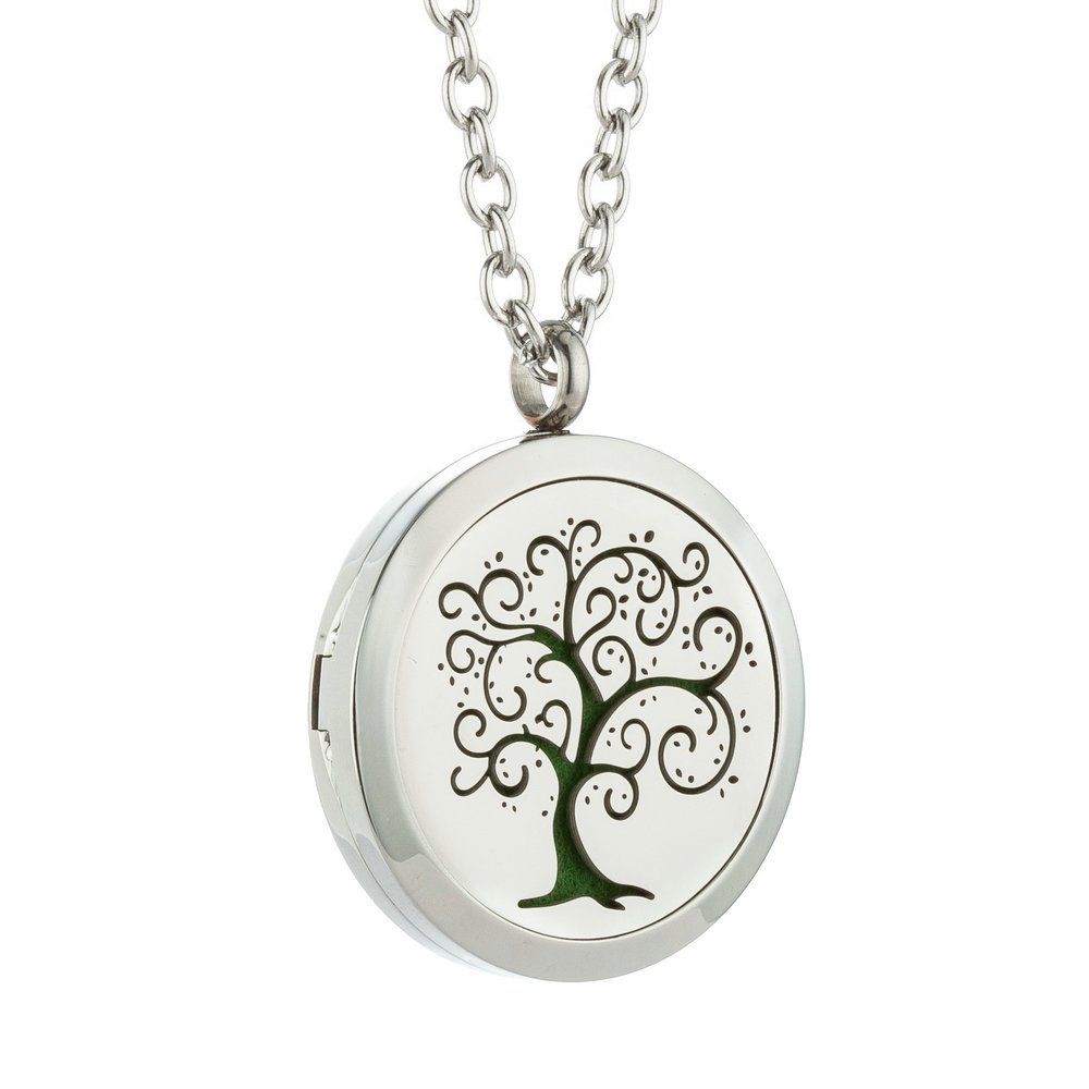 JAOYU Essential Oil Diffuser Necklace for Men Women Aromatherapy Pendant Stainless Steel Floating Charm Locket - Tree of Life Jewelry