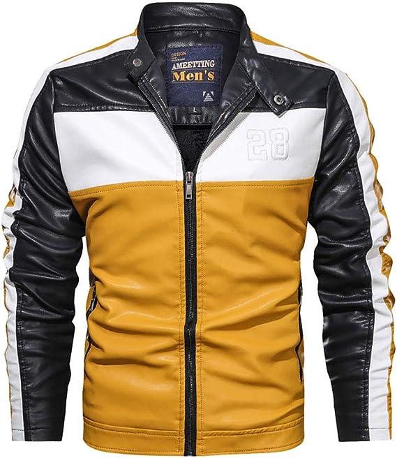 メンズPUの本革のジャケット、男性のオートバイのジャケットのプラシ天PUの大きい革のジャケット