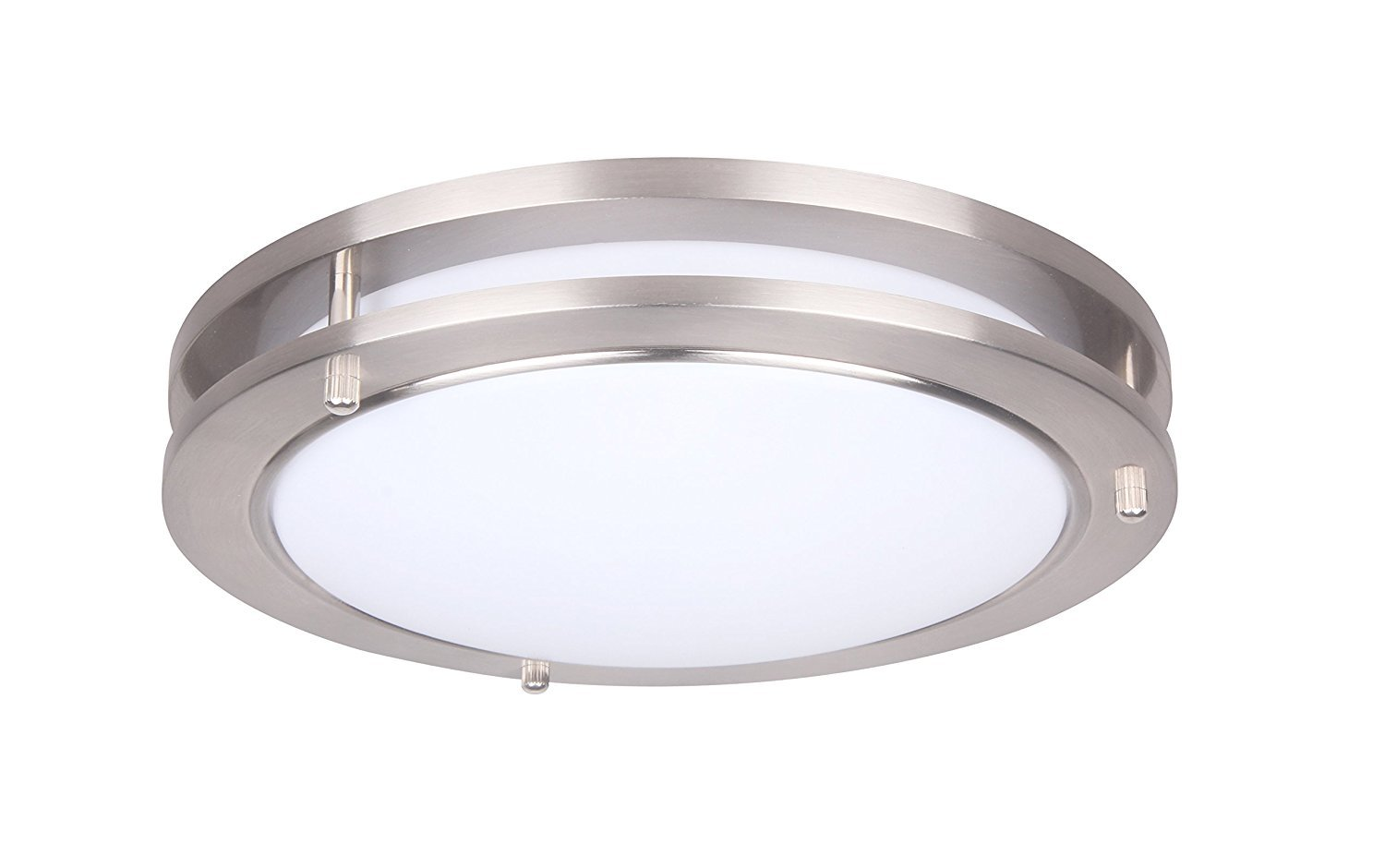 Yeuloum 15 inch LED Flush Mount Ceiling Light Fixture, Dimmable, Dust-Proof, 1925 Lumen, 27.5W Replace 200W, Satin Nickel Finish, ETL/ES Rated