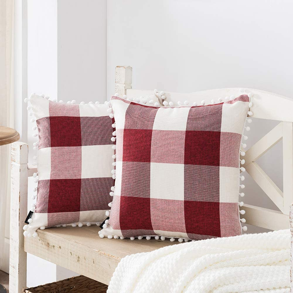 Nestinco Set of 2 Farmhouse Buffalo Check Pillow Covers Christmas Throw Pillow Covers 18 x 18 Red and White Plaid with Pom Pom Embellished for Couch Sofa Farmhouse Decor