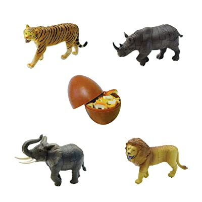 ARTKAL Assorted 4pcs/Set of 3D Jungle Animals Kits Puzzles DIY Tiger Rhino Elephant Lion Models Kids Educational Toy 3666: Toys & Games