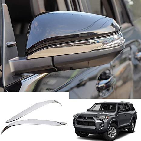 YUZHONGTIAN Car Side Door Mirror Cover Cap Decor Trim ABS Glossy Chrome 2PCS for Toyota 4Runner 2014-2019