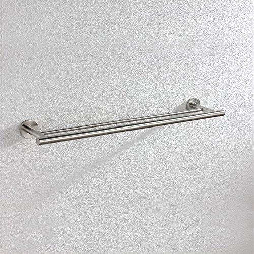 XVL Bathroom Towel Bar Stainless Steel, Brushed Steel (Towel Set Double Bar)