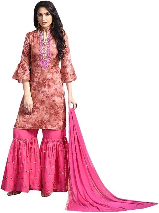 9e3fa3ed96 Amazon.com: Bridal Wedding Heavy Embroidery Muslim Sharara Suit Georgette  Ethnic Indian 7194: Clothing