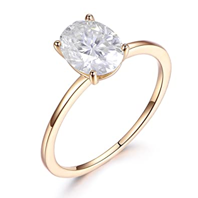 6x8mm Oval Cut 1 5ct Moissanite Solid 14k Yellow Gold Engagement