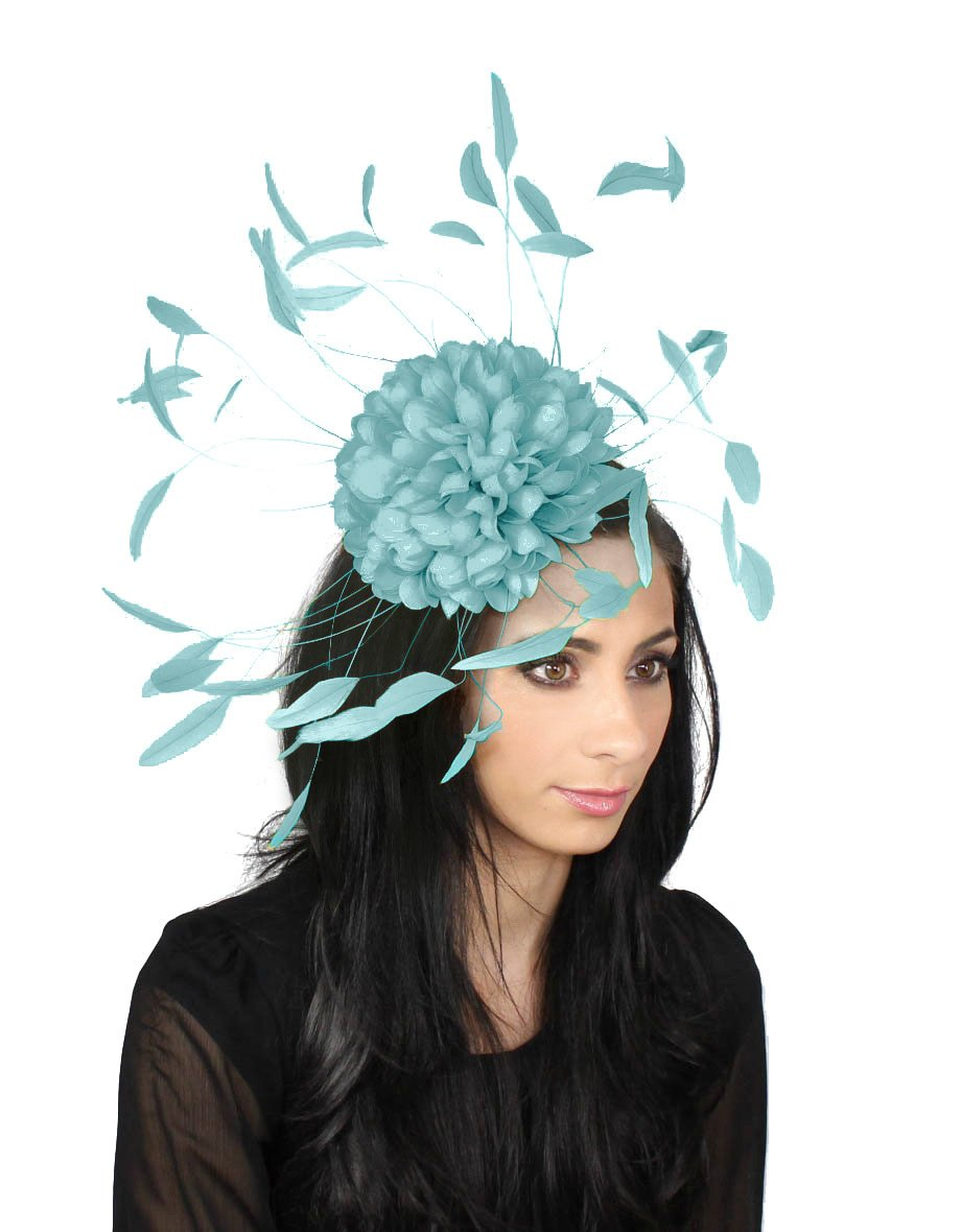 Hats By Cressida margeaux Feather Ascot Kentucky Derby Fascinator Hat With Headband - Baby Blue