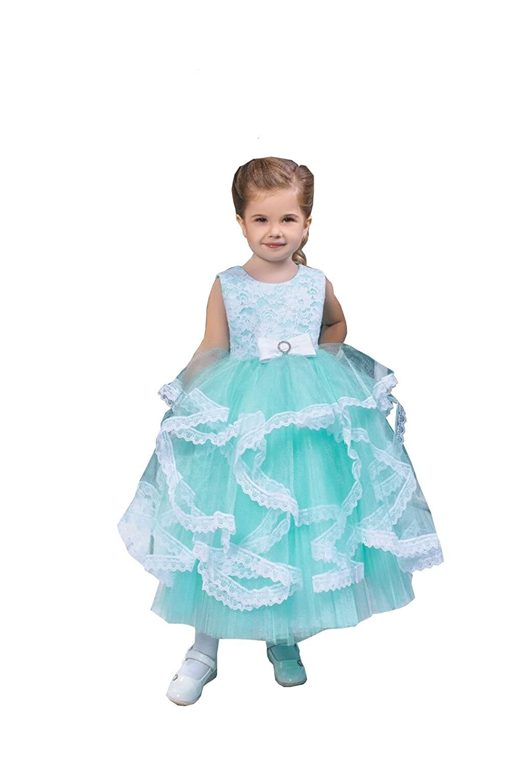 Banfvting Lace Ball Gonw Flower Girl Dress Ankle Length