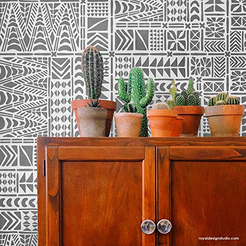 Tribal Tile Stencil - African Mudcloth Wallpaper Design for Bohemian Wall Decor - Geometric Boho Wall Art - Modern Stencil Pattern for Floors ()