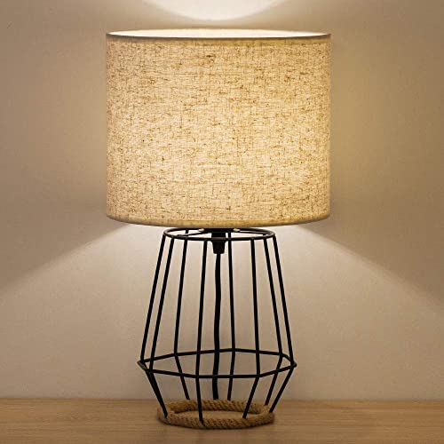 HAITRAL Bedside Table Lamp – Farmhouse Table Lamp Basket Cage Style Chrome Metal Base with Linen Fabric Shade Lamp for Living Room, Bedroom – Black HT-TH59-02