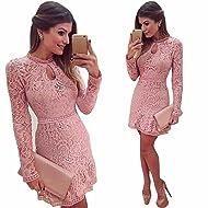 Jushye Women's Long Sleeve Dress, Ladies Pink Hollow Lace Slim Dress Party Evening Dress Elegant Mini Dress