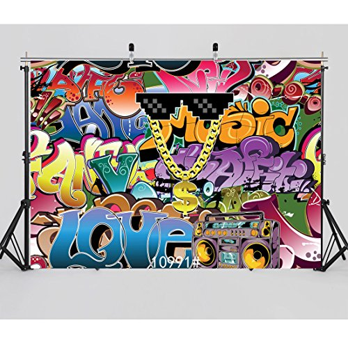 WOLADA 7x5ft Graffiti Backdrop Hip Hop Photography backdrops 80s Photo Backdrop Baby and Party Decoration Photography Background for studip Props 10991 -