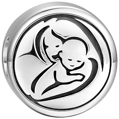 acce7aa0cc0d SOUFEEL Charm Plata de Ley 925 Abalorios Pulsera Dibujo Madre y Hijo Beads  Dijes en Forma