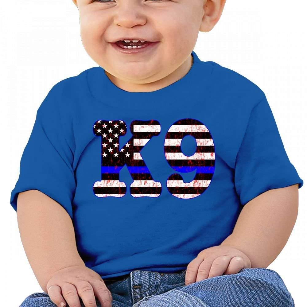 YXQMY Retro American Thin Blue Line K9 Baby Casual Round Neck T-Shirts Short eeve T