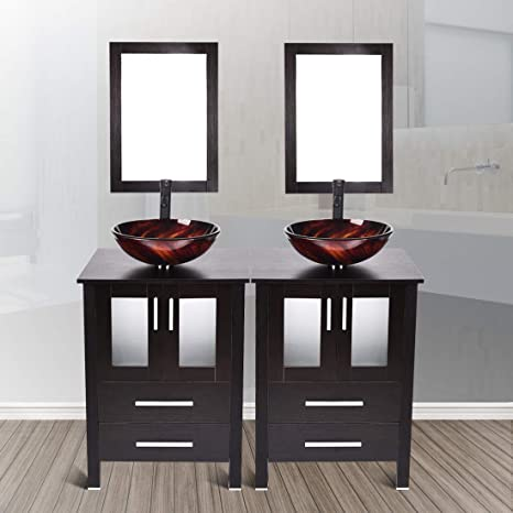 48 Inches Double Sink Top Bathroom Vanity Modern Stand Cabinet Black