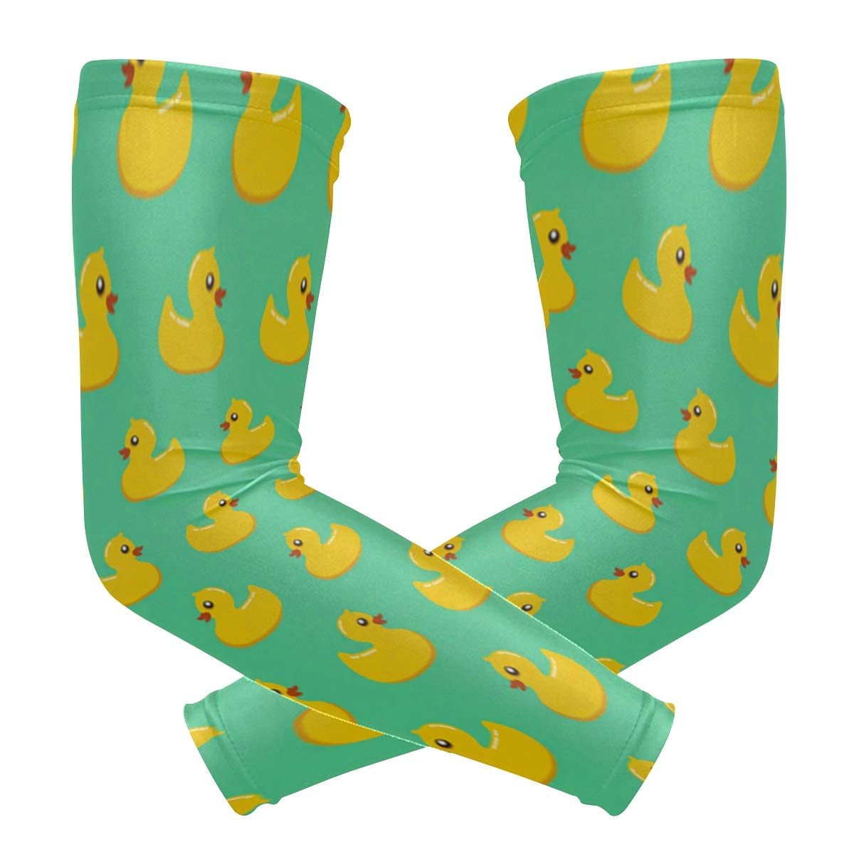 Fun Novelty Rubber Ducky Arm Sleeve Youth Adult Compression Elbow UV Skin Protection Sun Protection Sleeve for Cycling Basketball Baseball Driving