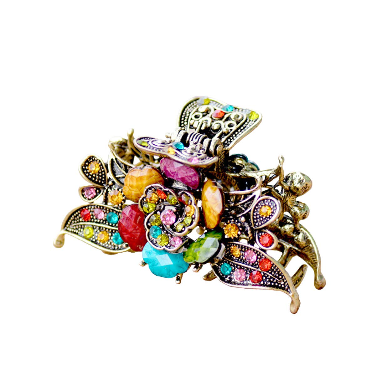 Numblartd Vintage Chic Rose Flower Crystal Rhinestone Imitation Turquoise Fancy Hair Claw Jaw Clips Pins - Women Girls Retro Alloy Hair Updo Grip Hair Catch Hair Accessories for Medium to Long Hair