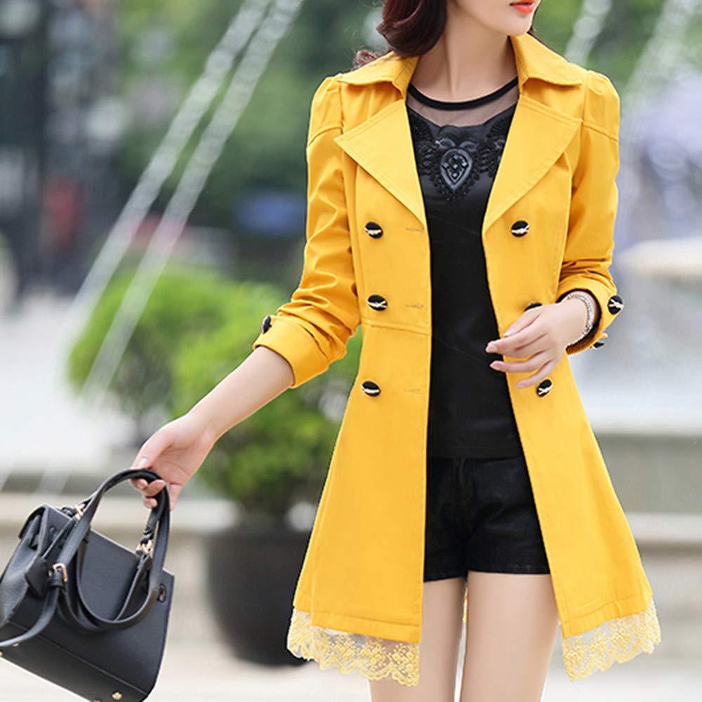 Amazon.com: AOJIAN Women Jacket Long Sleeve Outwear Vintage Lace Belt Button Solid Office Coat Yellow: Clothing