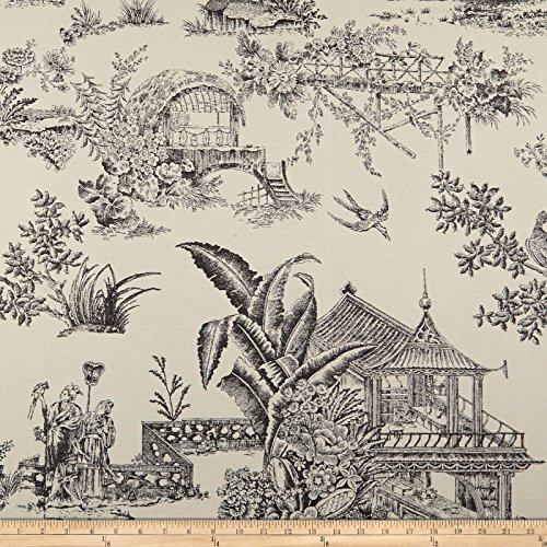 den Toile Indoor/Outdoor Ebony/Ivory Fabric By The Yard (Garden Toile Fabric)