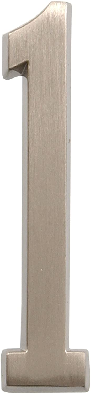 Distinctions by Hillman 843281 4-Inch Die Cast Self-Adhesive House Address, Brushed Nickel, Number 1