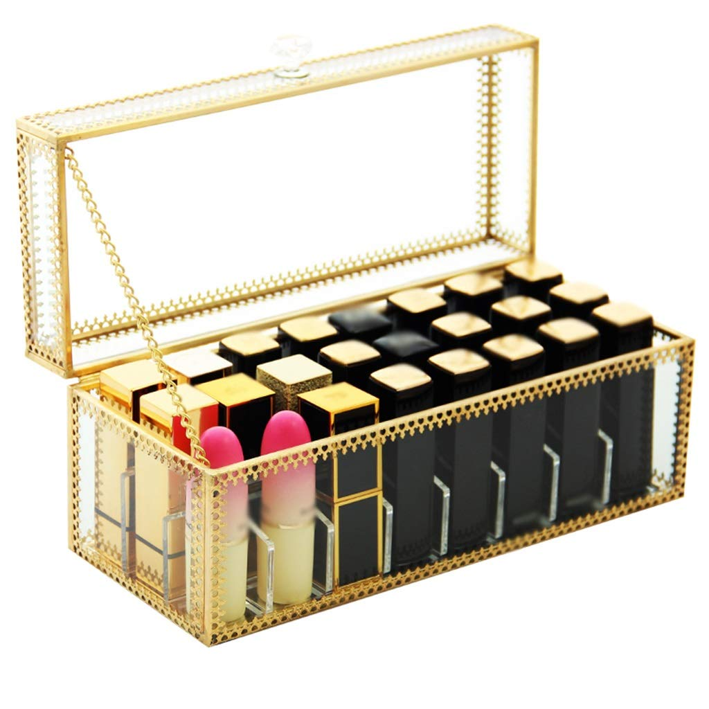 Transparent Lipstick Storage Box, Glass Cosmetic Storage Case, Dustproof Cover Finishing Rack, for Dressing Table Top (Size : Regular Version)
