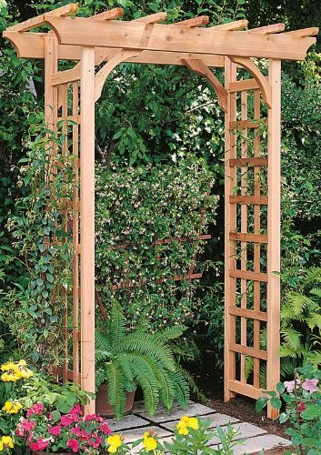 Arboria 820.1995 Rosedale Garden Arbor Cedar Wood Over 7ft High Pergola Design, 84