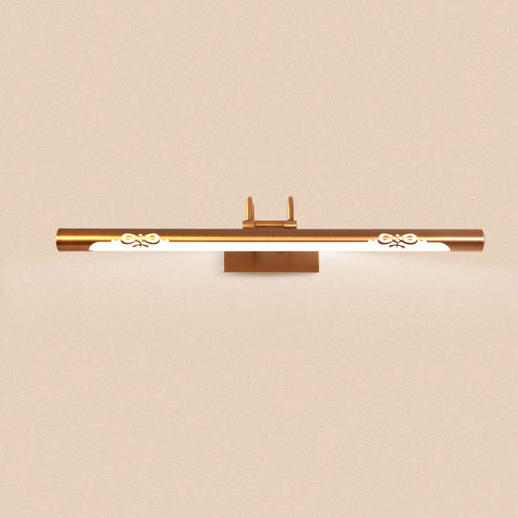 Hyzb LED-Badezimmer-Make-upspiegel-justierbarer Winkel-Spiegel, der kupfernen Körper-warmes weißes Licht beleuchtet (Größe   44cm 8W)