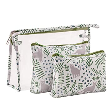 Amazon.com   HOYOFO Portable Cosmetic Bags Set of 3 Different Sizes Makeup  and Toiletry Pouch Purse Bag for Travel or Daily Use (Cat)   Beauty 2f24936d80