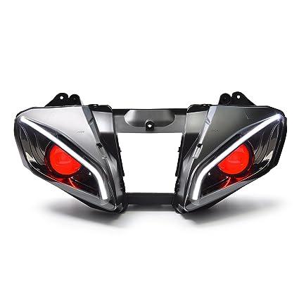KT LED Optical Fiber Headlight Assembly for Yamaha R6 2006 2007 V2 Red  Demon Eye