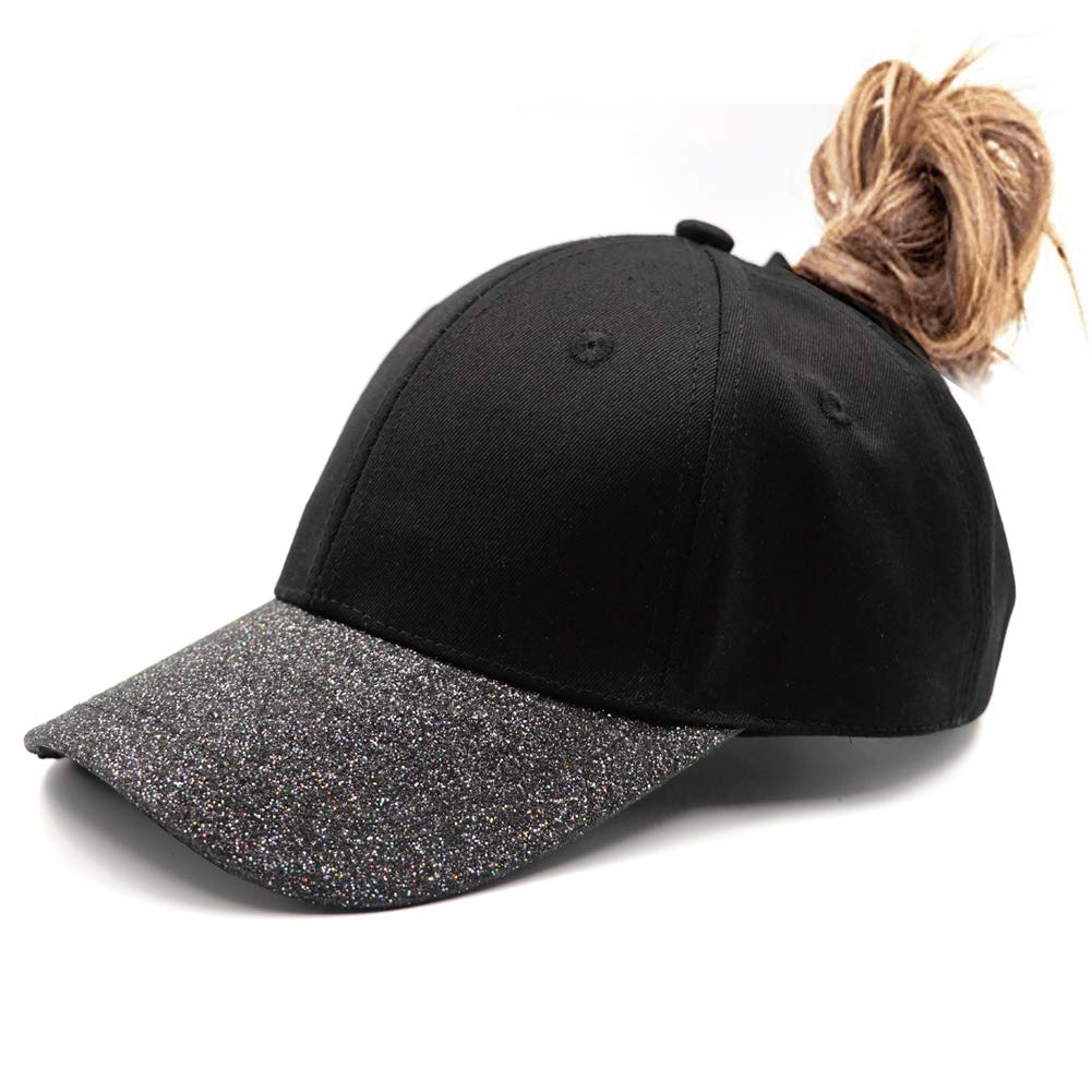 Lvaiz Womens Glitter Ponytail Hat Plain Baseball Cap Messy High Buns Mesh Trucker Ponycaps for Girls