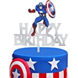 12sets Captain America Paper Cupcake Wrappers Cake Toppers Picks kids birthday