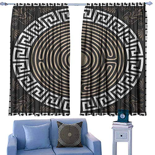 ParadiseDecor Greek Key Kids Decor Indo Curtain Drape Grecian Fret and Wave Pattern on Dark Background Antique Retro Swirls,Print Decorative Curtains,W55 x L39 Inch