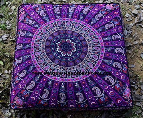 5 Pcs Large Mandala Floor Pillows Wholesale Lot Square Indian Cushion Cover 35'' Oversized Cushion Cover Cotton Seating Ottoman Poufs Dog / Pets Bed Sold By Handicraft-Palace by Handicraft-Palace (Image #1)
