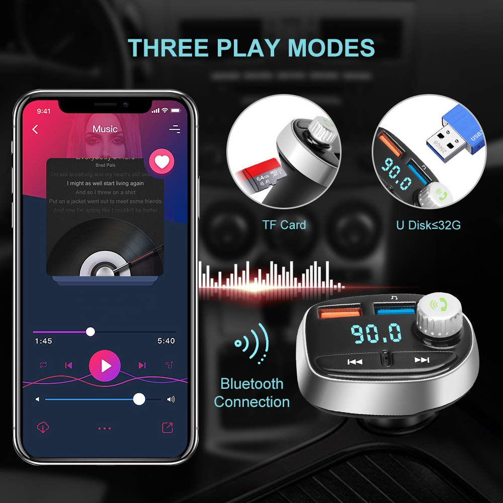 Wireless Car FM Radio Adapter Built-in Mic for Hands-Free Calling Chasehill Bluetooth FM Transmitter Black Support TF Card and USB Flash Drive Play Music QC3.0 Quick Charger//Dual USB Ports
