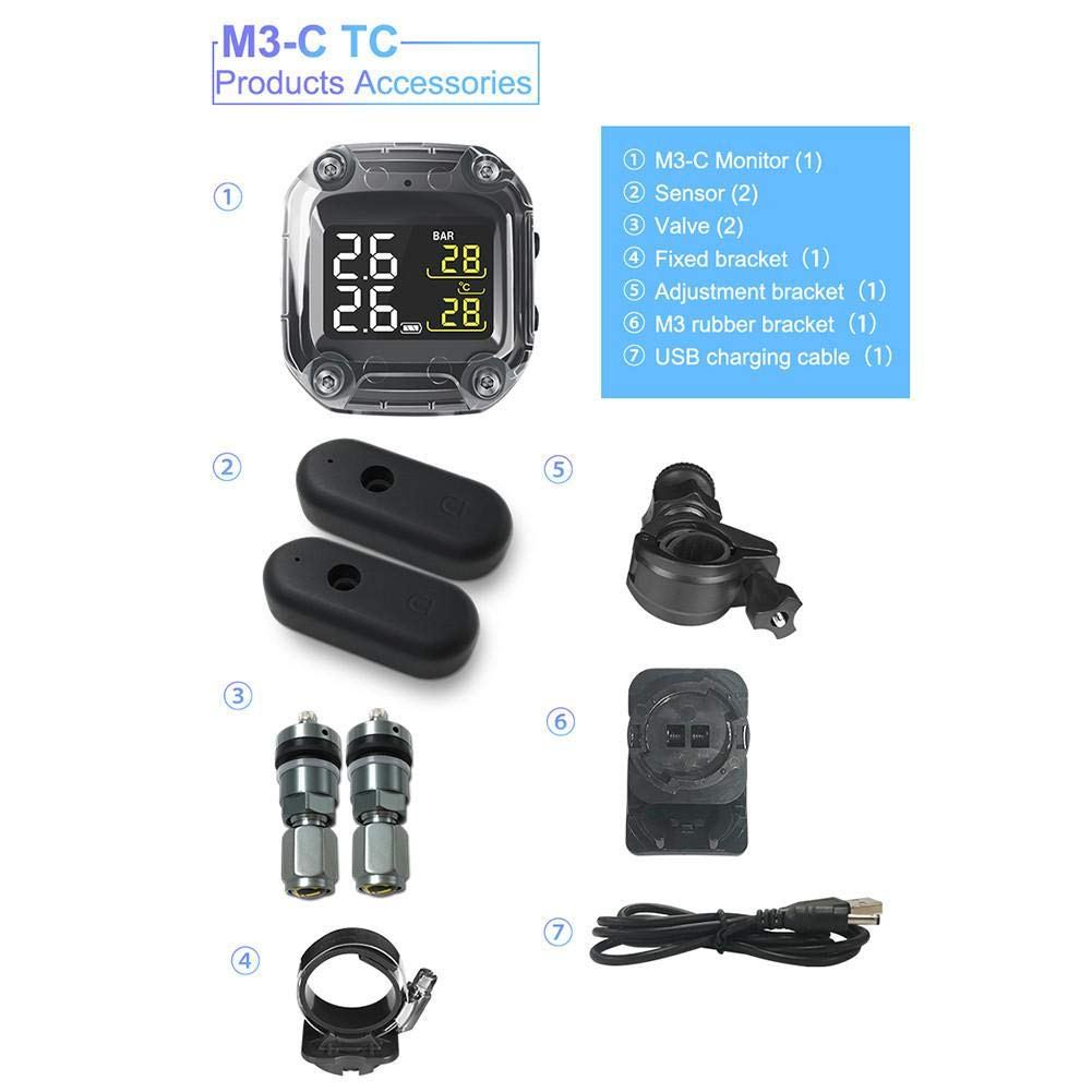 Motorcycle Tire Pressure Monitoring System - Wireless TPMS Tires Motor Auto Tyre Tool, Real Time Monitor, Abnormal Alarm System for Two-Wheeled Motorcycle by Gorge-buy
