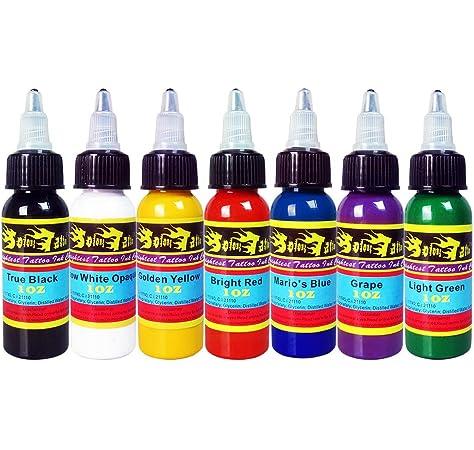 Solong Tattoo 7 Unidades Tinta de Tatuaje Pigmento Básicos Colores de Tatuaje 1 OZ 30 ml/Botella Tinta Kit Para Tatuar Materiales Para Tatuar TI301-30-7: Amazon.es: Belleza