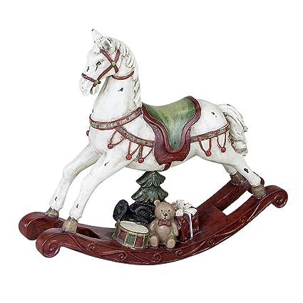 Cavallo A Dondolo Artigianale.Decorazione A Dondolo Cavallo 22 Cm Crema Rosso Amazon It
