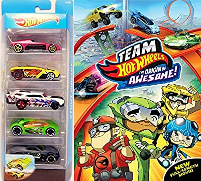 Drive Pack Team Hot Wheels Origin of Awesome Cartoon Movie & Hot wheels 5-pack of Cars 2-Pack DVD Toy bundle