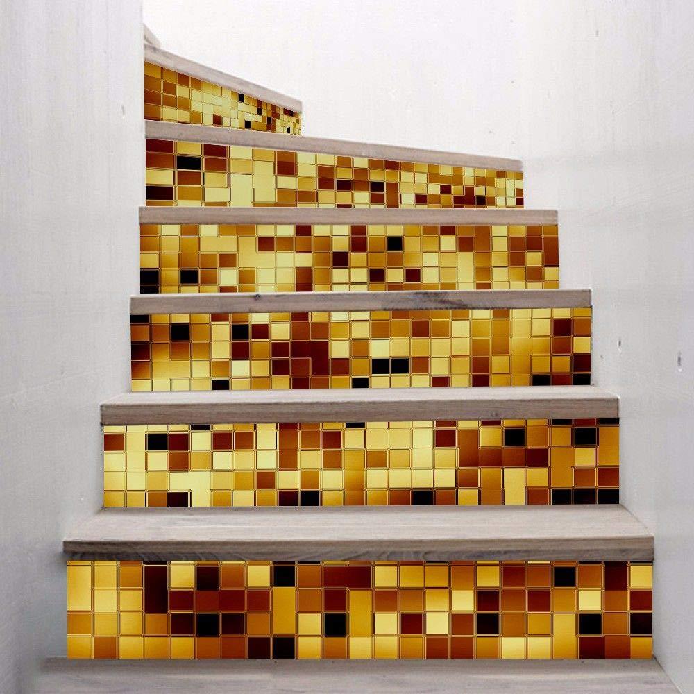 Kang Wall Sticker Adesivi Murales Carta da Pareti Decorazione Murali da Parete adesivo da parete muro 3D scala Oro Argento impermeabile a mosaico, 100X18cmx6Chip