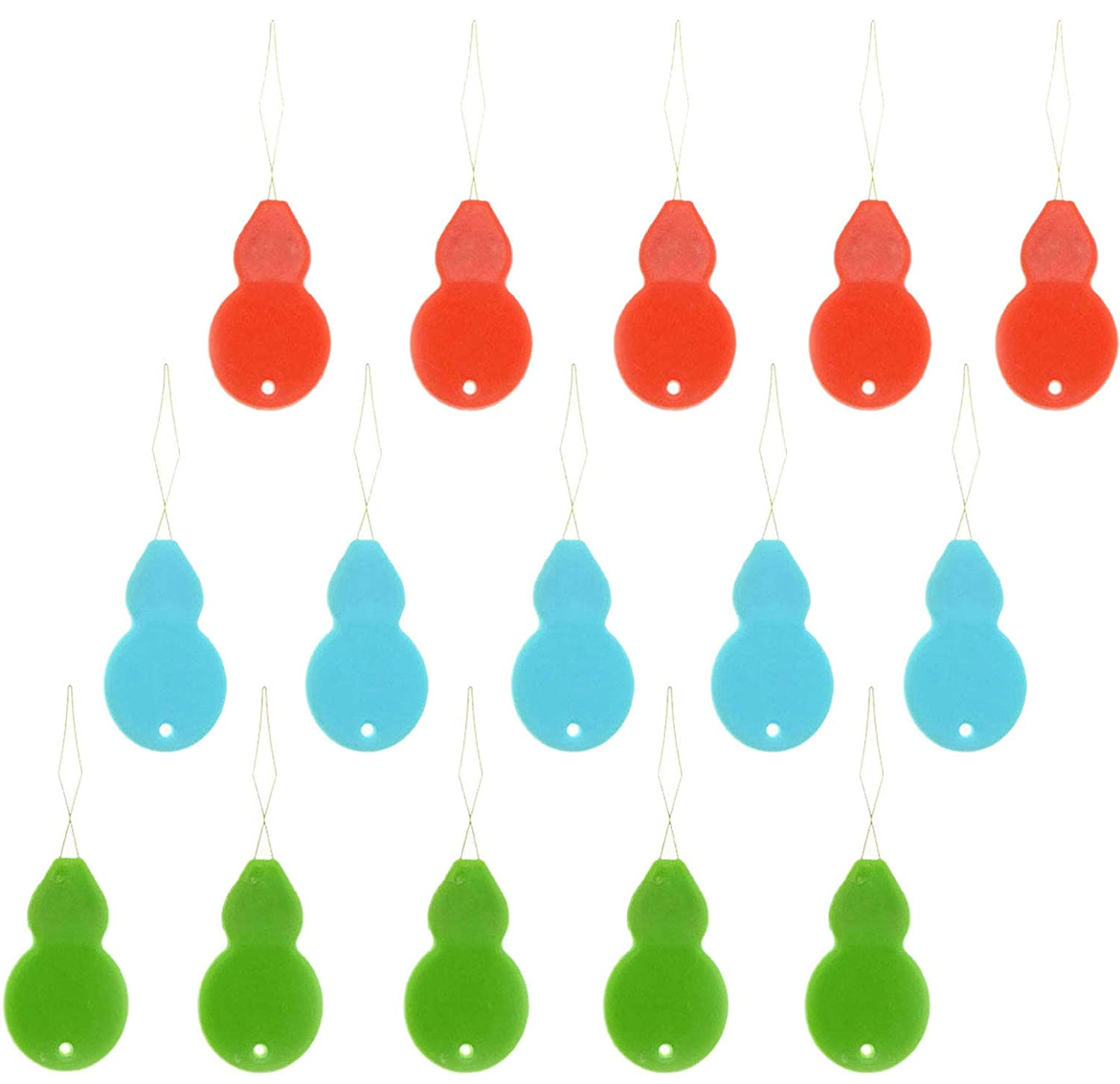 15PCS Needle Threaders Plastic Home Wire Gourd-Shaped Needle Thread Detector Red Blue Green