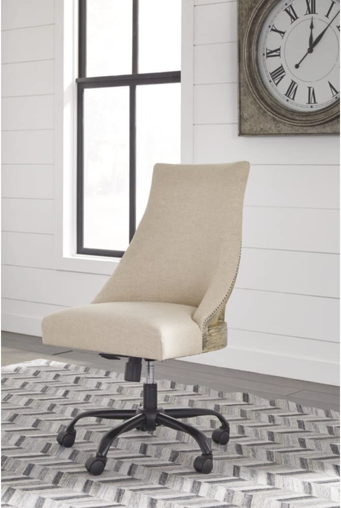Ashley Furniture Signature Design – Adjustable Swivel Office Chair – Manual Tilt – Casual – Linen – Nailhead Trim