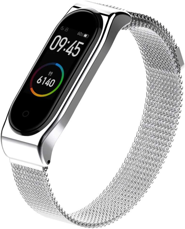AHANGA Correa para Mi Band 4 Xiaomi Mi Band 3 Correas Metal Pulsera de Actividad Reloj Milanés Wristband Repuesto Bandas de Acero Inoxidable Agradable con Cierre magnético Cerradura Imán Pulseras
