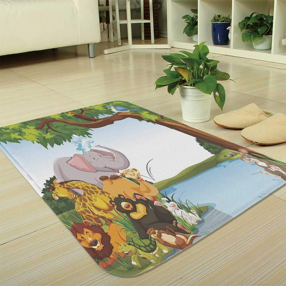 TecBillion Non-Slip Mat,Kids,for Bathroom Kitchen Bedroom,35.43''x47.24'',Various Cartoon Style Animals Together by