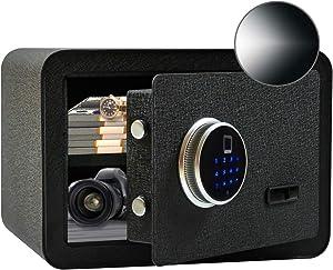 SamYerSafe Safe Box with Sensor Light,0.75 Cubic Feet Fingerprint Sensor Securit Safe with Shelf Steel Construction Hidden with Lock for Home Office Hotel BusinessGun Passport Cash