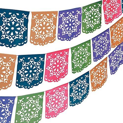 Fun Express - Flower Cut Out Banner for Cinco de Mayo - Party Decor - Hanging Decor - Pennants - Cinco de Mayo - 1 -