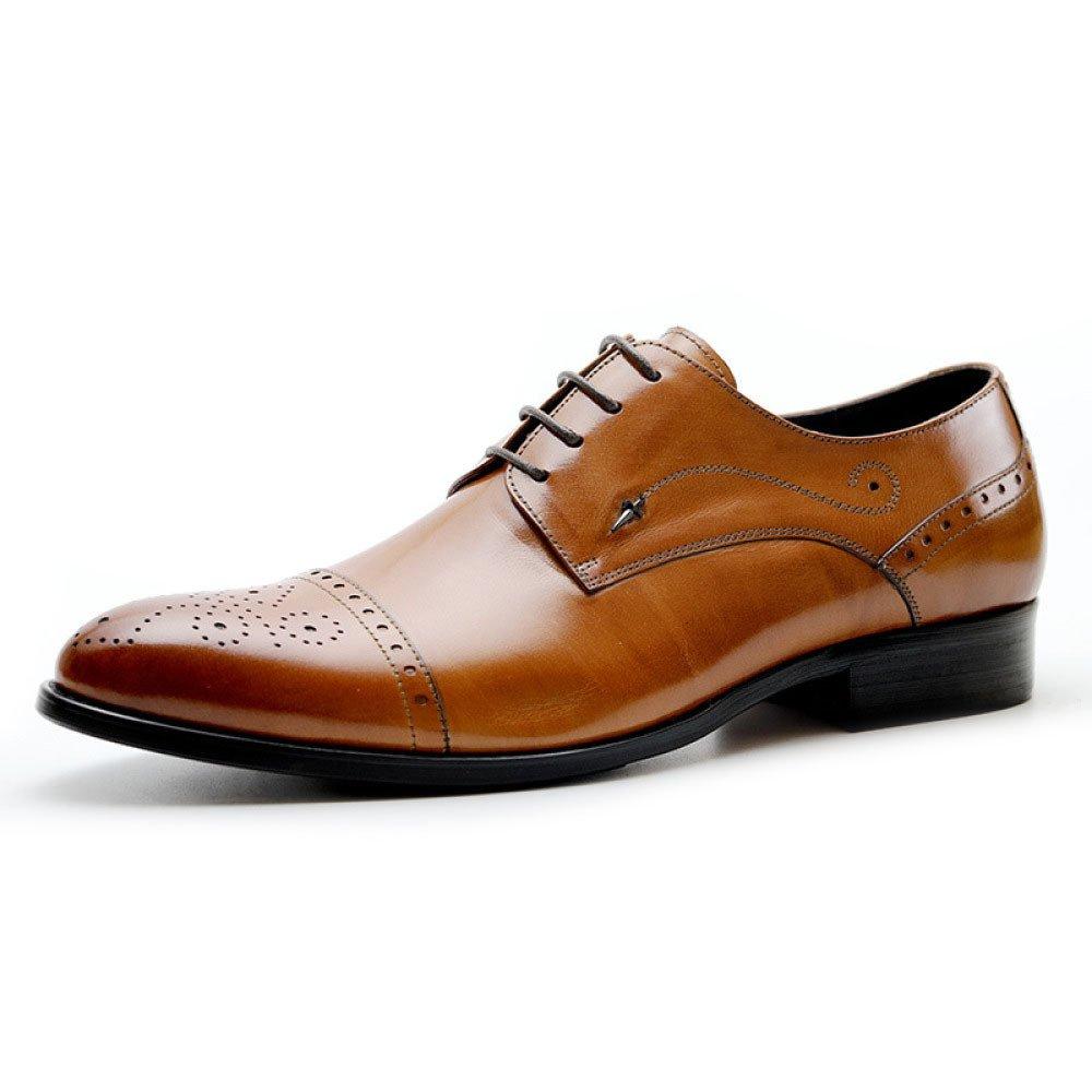 Zapatos De Vestir De Negocios De Primavera Y Otoño Zapatos De Moda De Talla Británica Tallados Hombres Ocasionales 42 EU|Brown