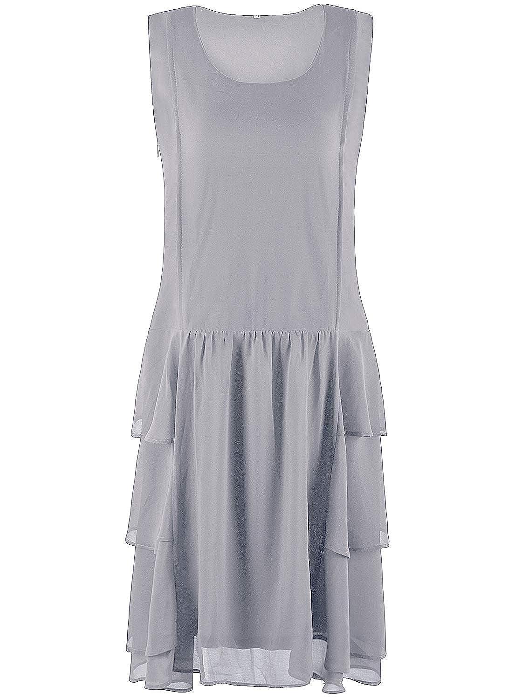 VIJIV Womens 1920s Inspired Flapper Dress High Tea Great Gatsby Maroon with Tiered Skirt 20s Dress