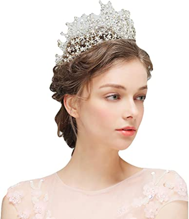 Gorgeous Headbands For Women White Lace Flower Tiaras Crystal Pearl Bride Crown